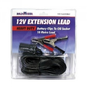 Extension Lead 12V Battery Clip/CIG Socket 10M
